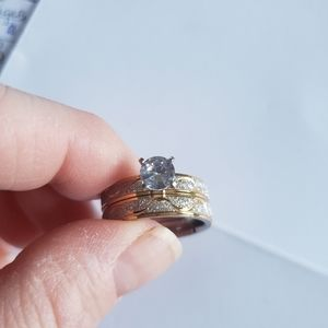 Size 8 2 pc stainless steel cubic zirconia ring
